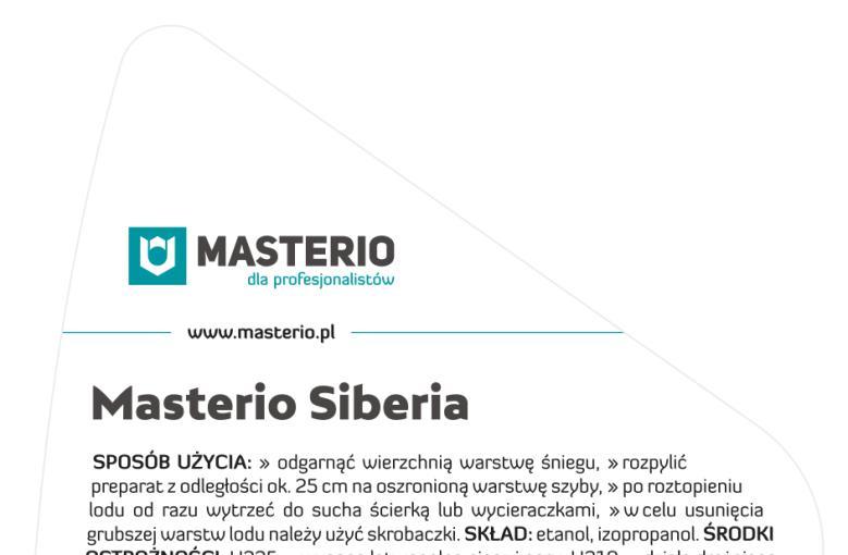 Masterio Siberia — odmrażacz do szyb i lusterek — etykieta